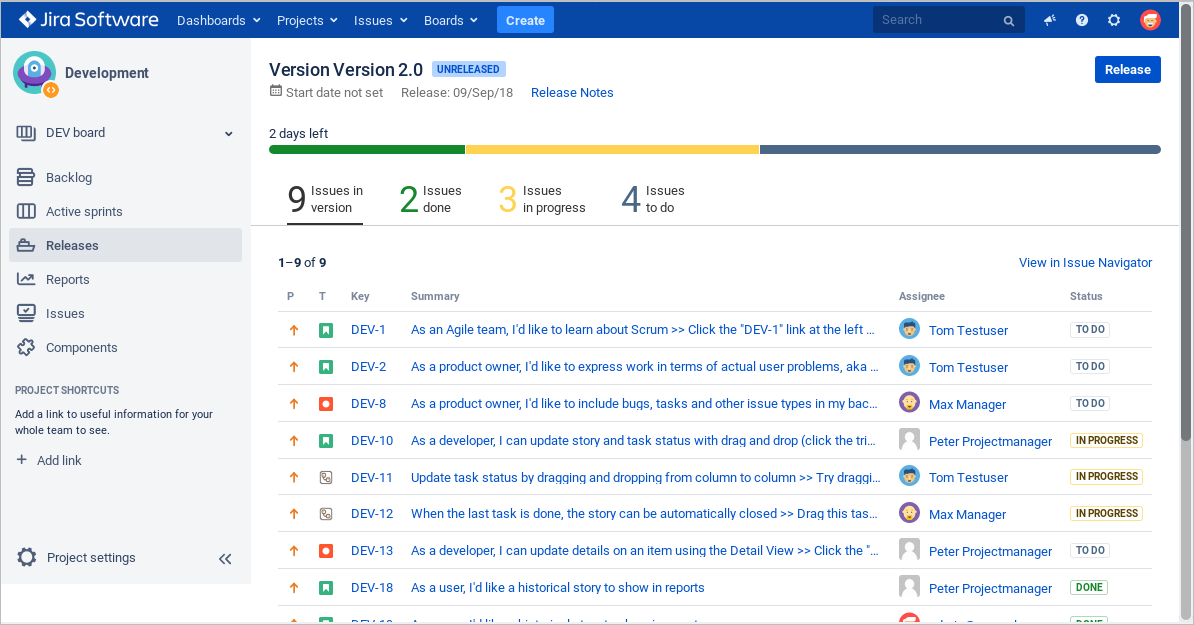 Release Hub - Jira Software