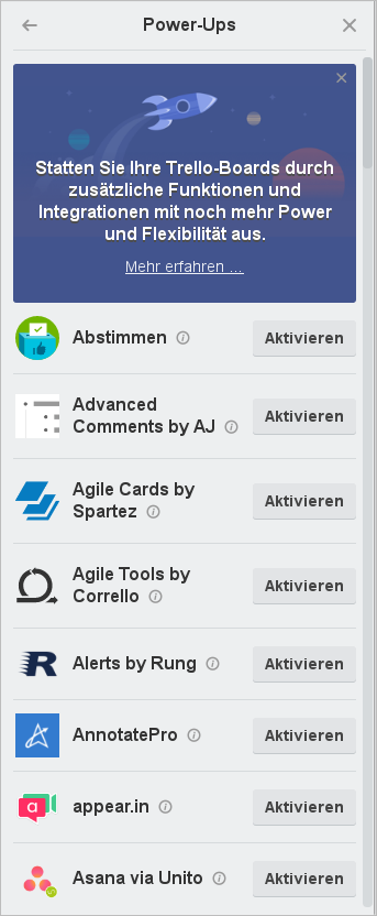 Power-Ups für Trello